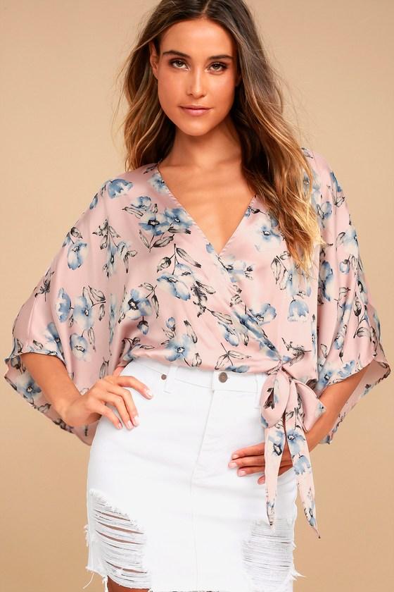 b45660e9fb535 Lovely Blush Pink Floral Print Top - Crop Top - Kimono Sleeve Top -  Surplice Top -  44.00