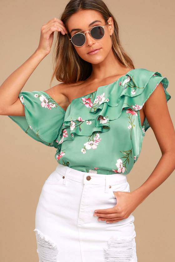 039a03a055bc73 Lovely Sage Green Top - Floral Print Top - Satin Top - Off-the-Shoulder Top  - One Shoulder Top -  36.00