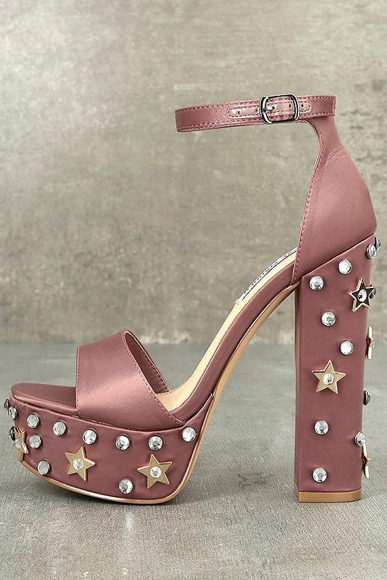 73658127222 Steve Madden Glory Dusty Rose Heels - Platform Heels - Studded Heels ...