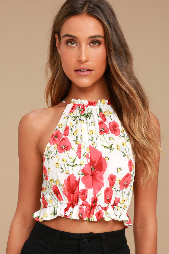 3f4f39c84e6c46 Cute White and Red Top - Crop Top - Drawstring Top - Sleeveless Top -  Floral Print Top