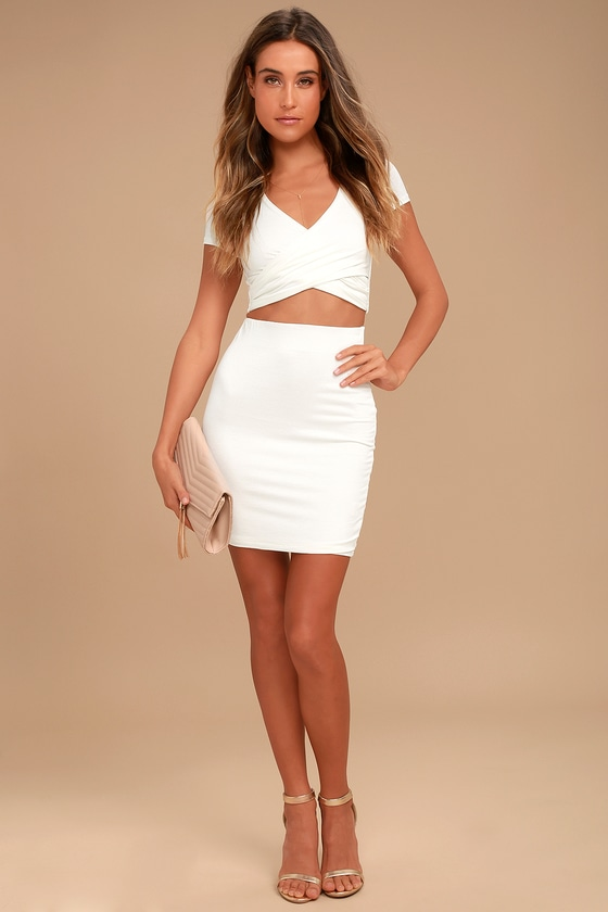 7c24b4758e06 Two-Piece Dress - Jersey Knit Dress - Ivory Bodycon Dress