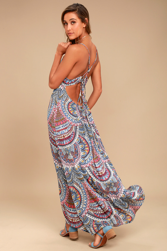 41f4be753ab Billabong Places to Be Dress - Blue Print Maxi Dress - Backless Maxi Dress  -  59.95