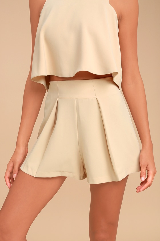 Cute Beige Shorts - Pleated Shorts - Woven Shorts - High-Waisted ...