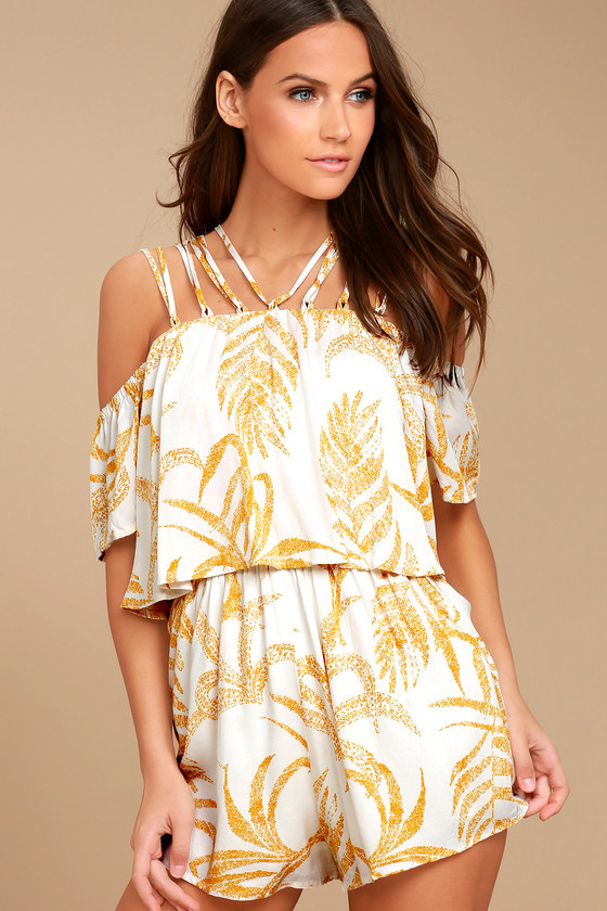 679b8dea0416 MINKPINK Paradise - White and Yellow Romper - Print Romper -  Off-the-Shoulder Romper