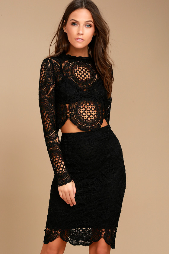 f41ddba2091 Lovely Black Lace Top - Sheer Lace Top - Long Sleeve Crop Top