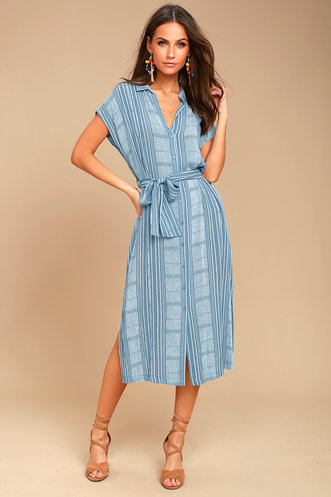712a09d8d4 I m the One Blue and White Striped Shirt Dress