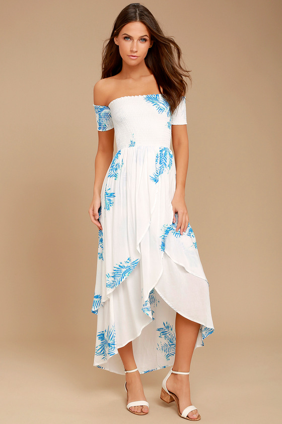 Lucy Love Barefoot White Print Off-the-Shoulder High-Low Dress 1