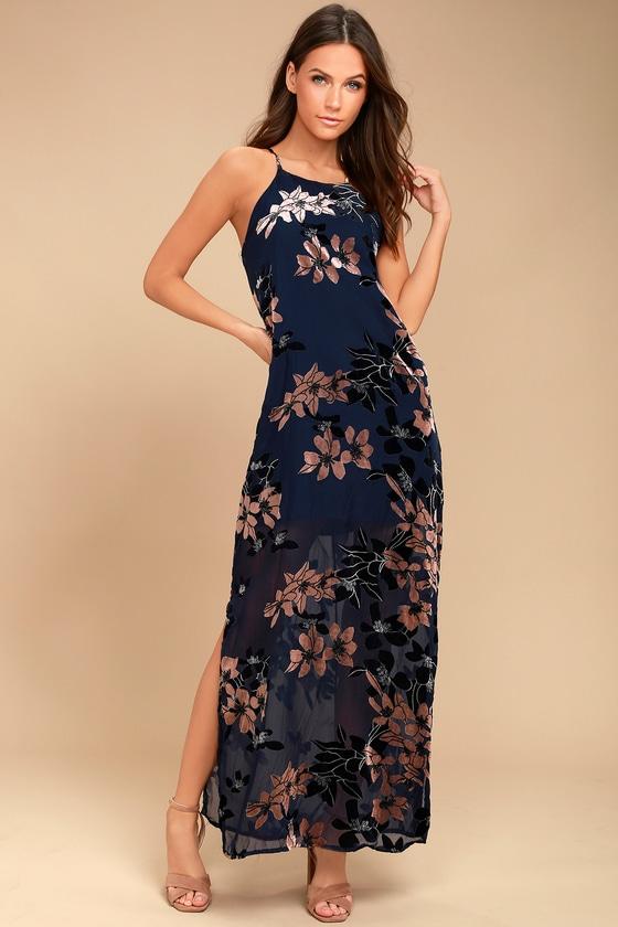 Stunning Navy Blue Print Maxi - Velvet Floral Print Maxi Dress