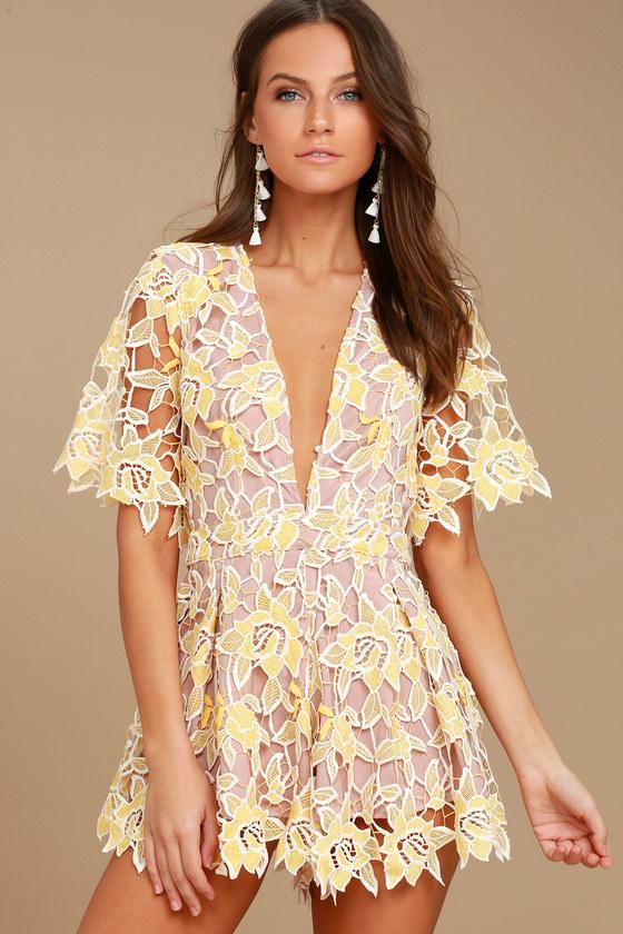 81efe070718 NBD Mila Romper - Beige and Yellow Lace Romper - Short Sleeve Romper