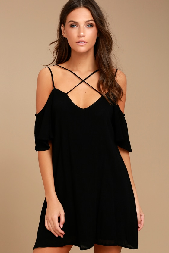 60293c1fa861c Cute Black Dress - Shift Dress - Cold Shoulder Dress