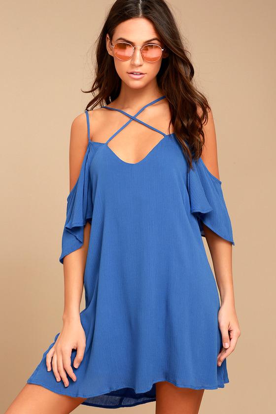Afterglow Royal Blue Shift Dress 2 - Cute Royal Blue Dress - Shift Dress - Cold Shoulder Dress - $47.00