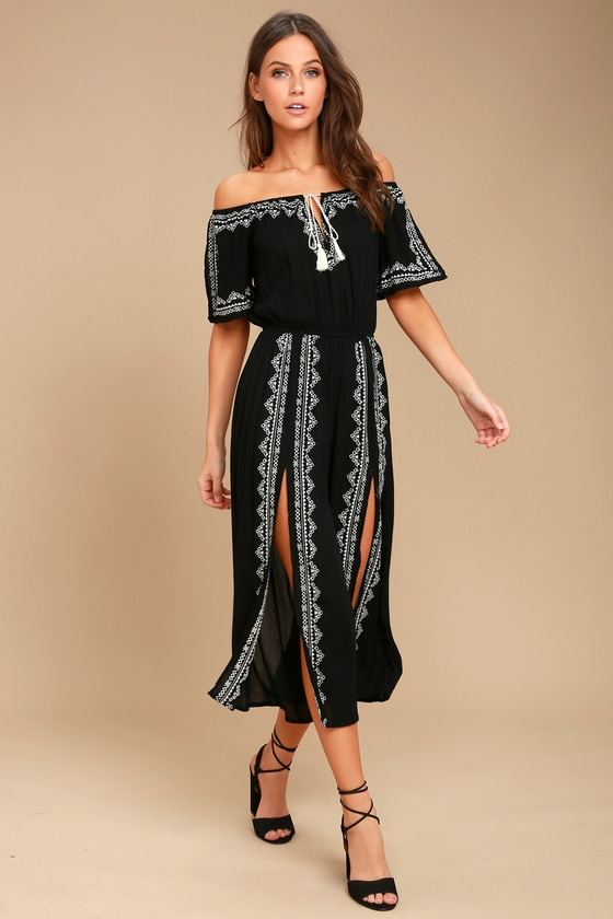 Ready, Set, Vacation Black Embroidered Off-the-Shoulder Jumpsuit 1