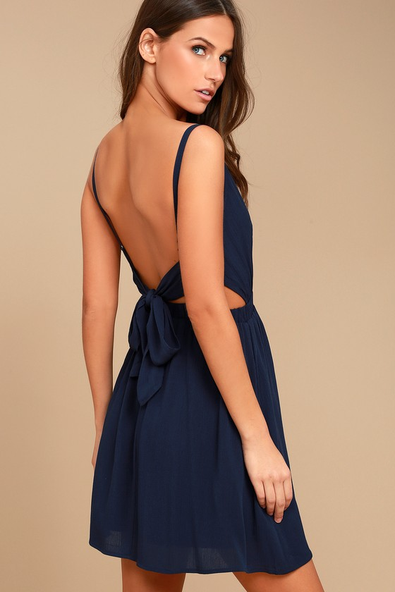 7a5717edf7 Cute Navy Blue Dress - Skater Dress - Backless Dress - Backless Skater Dress