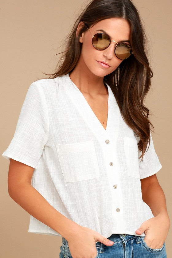 42935eb7b92 Cute White Top - Button-Up Top - Crop Top - Button-Up Crop Top