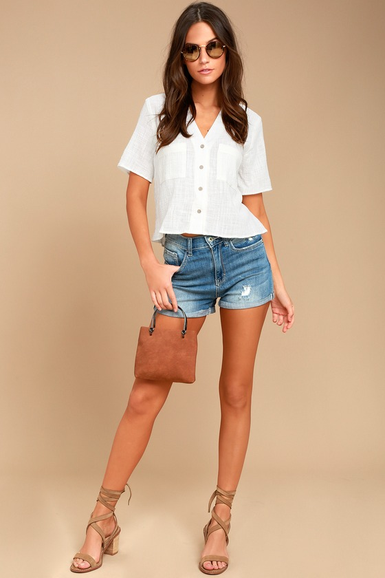 9cde2527ce7713 Cute White Top - Button-Up Top - Crop Top - Button-Up Crop Top