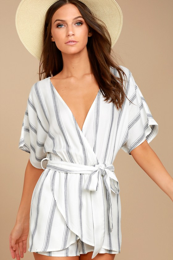 382d0f75beed Grey and White Romper - Striped Romper - Short Sleeve Romper