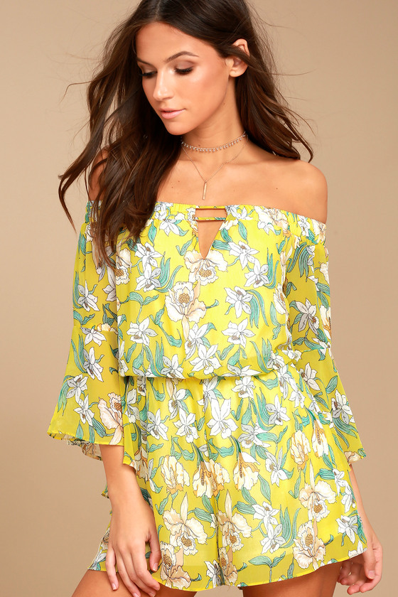 Stay Sweet Yellow Floral Print Off-the-Shoulder Romper 2