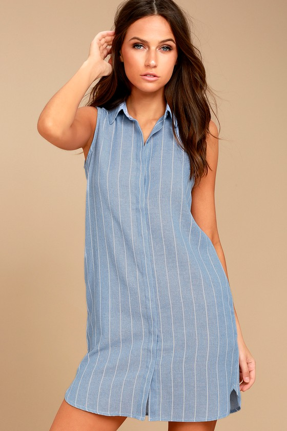 Poolside Blue and White Striped Shirt Dress 1