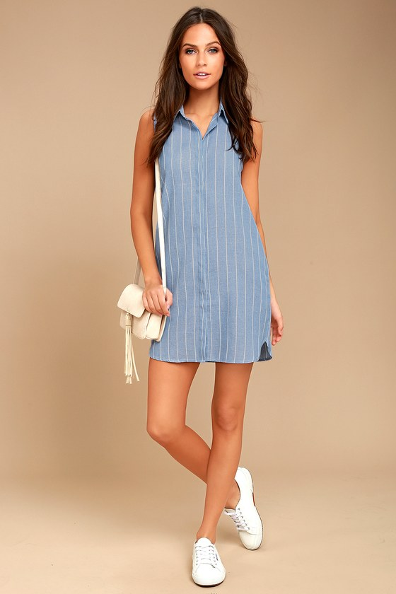 af4f176b25030b Cute Blue and White Dress - Shirt Dress - Striped Dress - Sleeveless ...