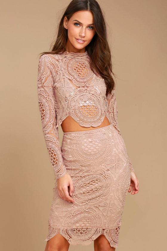 e5cdfc0a6ba3c Lovely Mauve Skirt - Lace Skirt - Pencil Skirt - Midi Skirt - Crochet Lace  Skirt