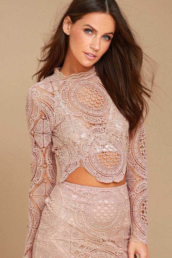 4011104565e Lovely Mauve Top - Lace Top - Sheer Lace Top - Long Sleeve Top - Crop Top
