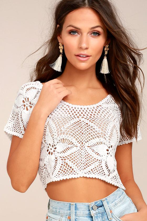 Billabong Sun Catcher Cream Crochet Lace Crop Top 2