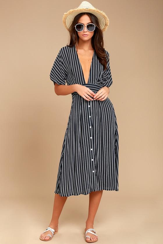 21df61c8e651 Faithfull The Brand Mustang - Navy Blue Striped Dress - Striped Dress -  Midi Dress