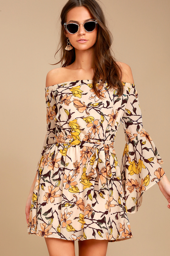 d3288b0f934 Lovely Blush Floral Print Dress - Off-the-Shoulder Dress - Bell Sleeve Dress
