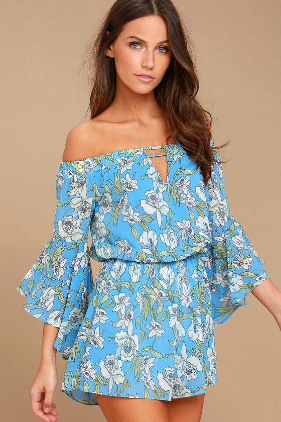 a47e4936531 Cute Light Blue Romper - Floral Print Romper - Off-the-Shoulder Romper