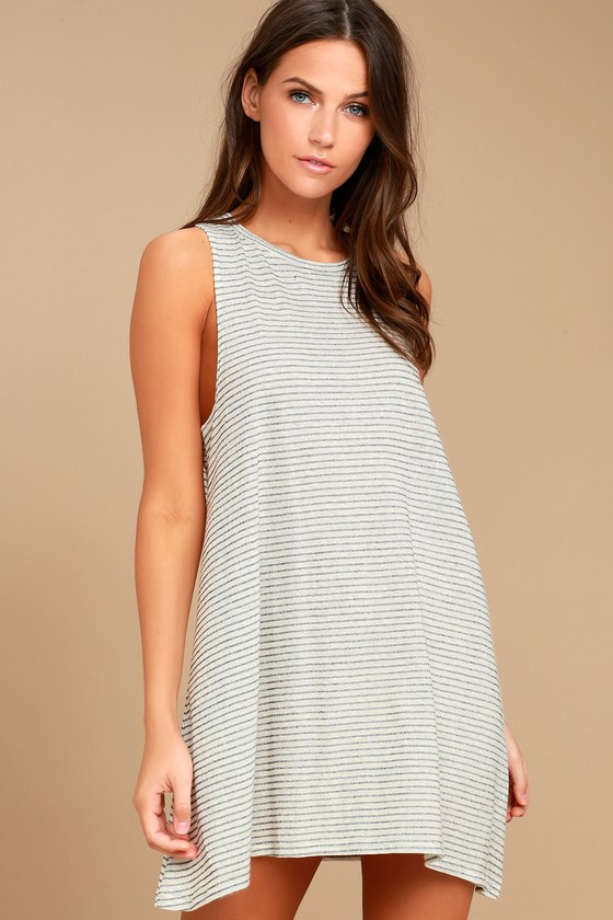 Billabong By and By Cream Striped Swing Dress 1