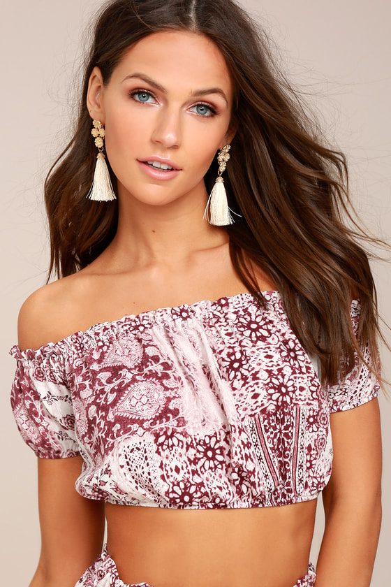 Attention to Detail Rust Red Print Off-the-Shoulder Crop Top 1