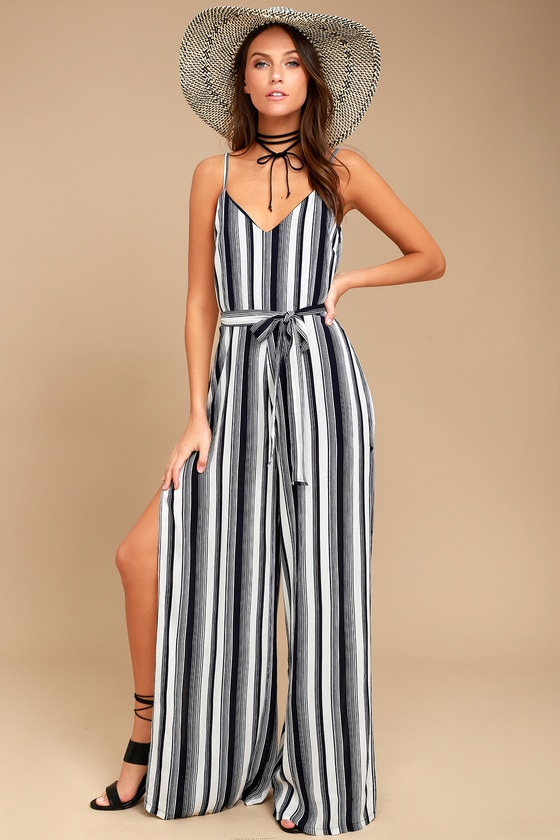 e1ef6d3046e Cool Blue and White Striped Jumpsuit - Side-Slit Jumpsuit - Sleeveless  Jumpsuit