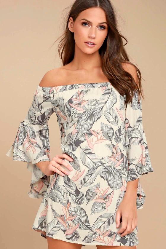 Sun-Drenched Daydream Beige Floral Print Off-the-Shoulder Dress