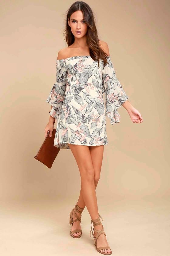 e8ead582bde Beige Floral Print Dress - Off-the-Shoulder Dress - Shift Dress