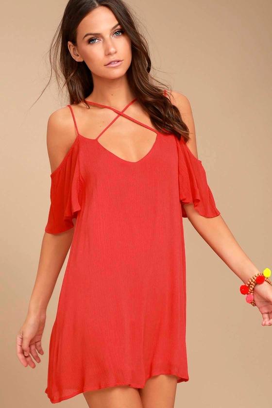 9987886638f Cute Red Dress - Shift Dress - Cold Shoulder Dress -  47.00