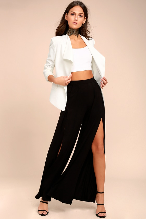 396e64d99556 Cute Wide Leg Pants - Tulip Hem Pants - High Waist Pants - Black Pants