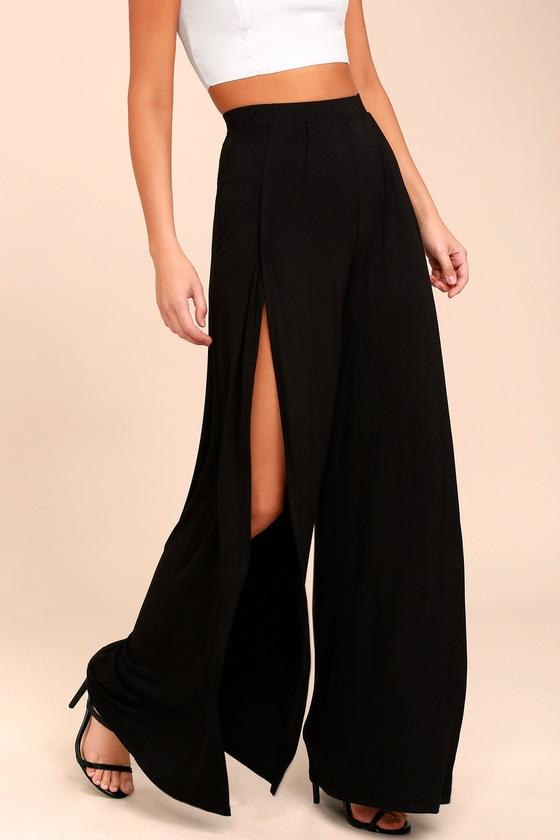 a28e03bf92d0 Cute Wide Leg Pants - Tulip Hem Pants - High Waist Pants - Black Pants