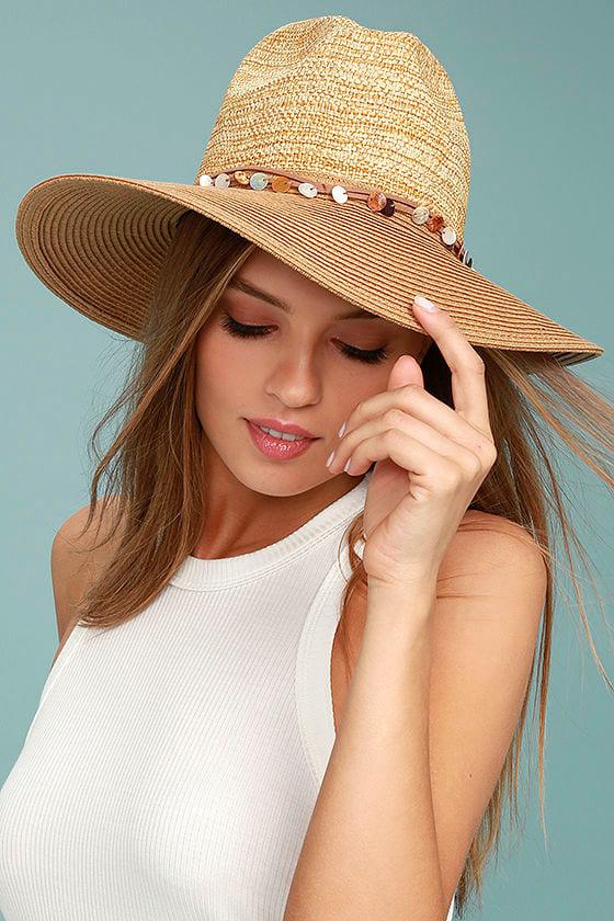 Shellebration Tan Straw Fedora Hat