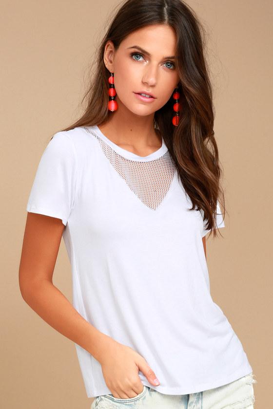 e48c22de14e483 Chic White Tee - Mesh Tee - Mesh T-Shirt - Mesh Top - $24.00