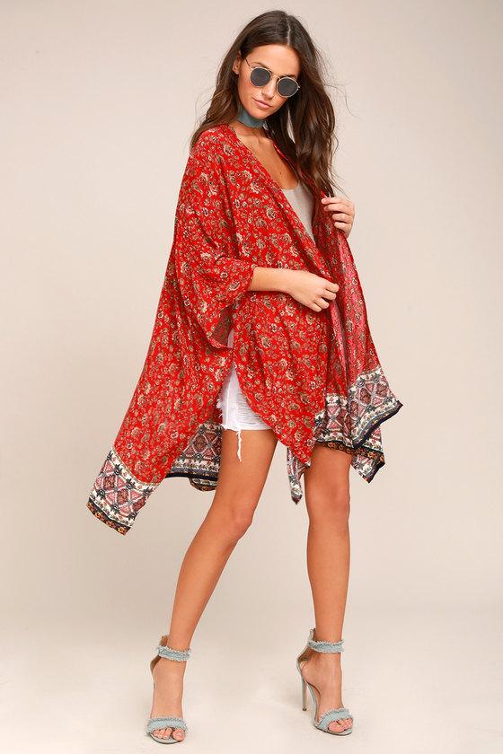 PPLA Jun Red Print Kimono Top 1