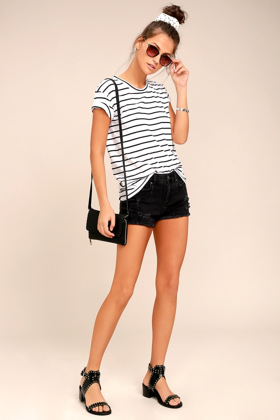 Tanner Black and White Striped Tee