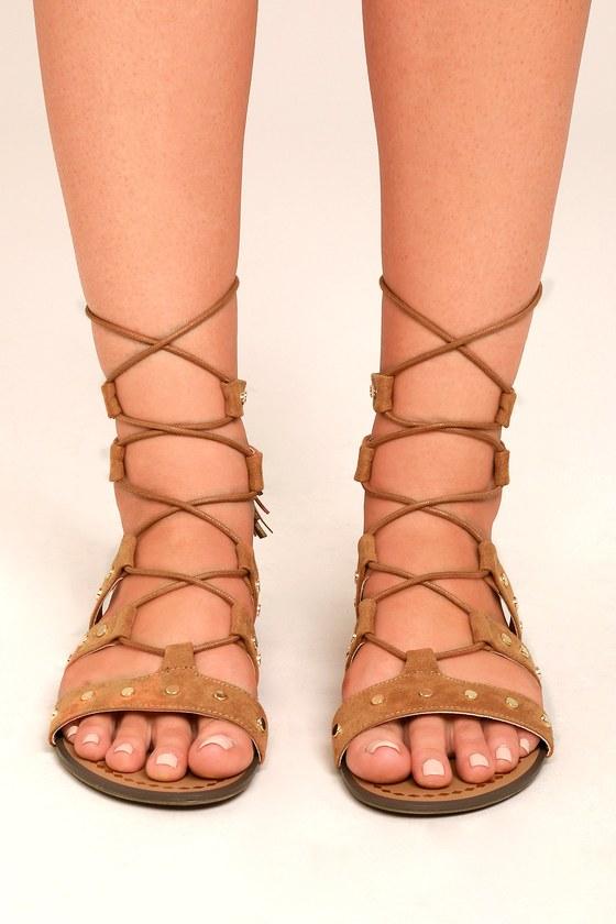 2a067ad7cef1c2 Report Laurel Tan Suede Sandal - Ankle-Wrap Sandals