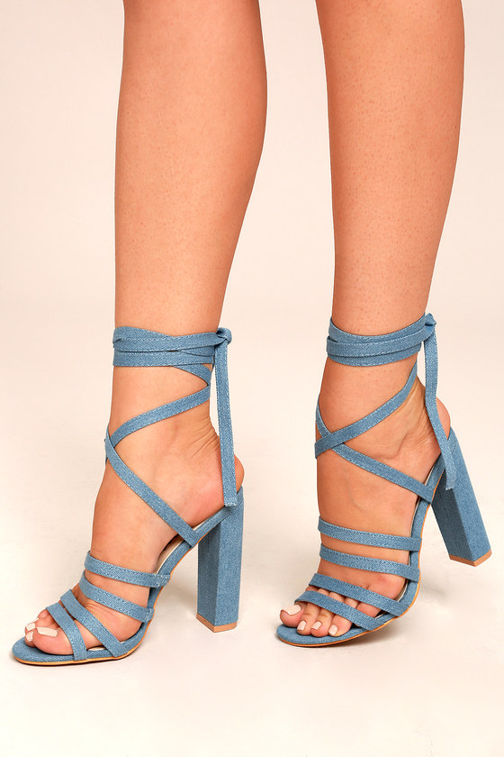 chic denim blue heels laceup heels blue high heels