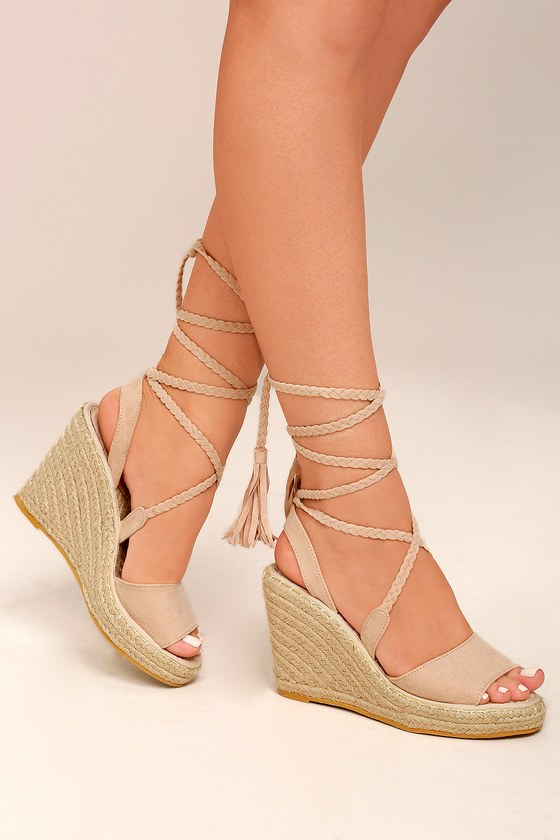 Cali Beige Suede Espadrille Lace-Up Wedges 4