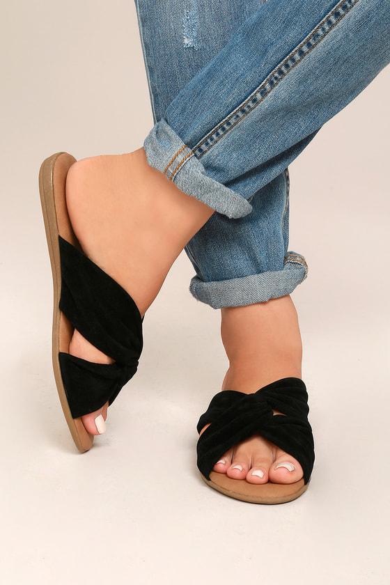 Santana Black Suede Slide Sandals 4