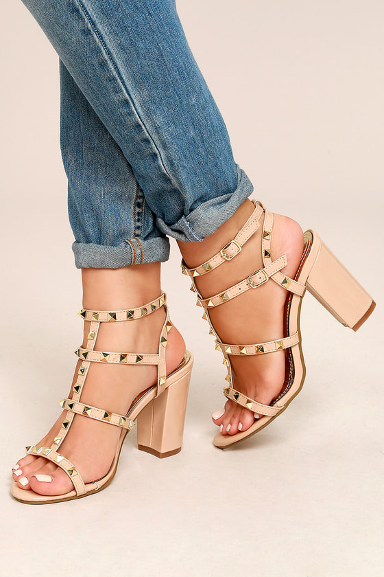 c2c02782ce5 Stunning Studded Heels - Vegan Patent Leather Heels - Nude Heels