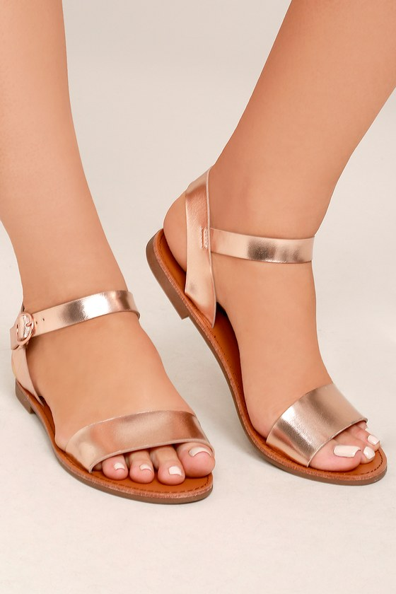 60f968e7dde48d Cute Rose Gold Sandals - Flat Sandals - Ankle Strap Sandals -  17.00