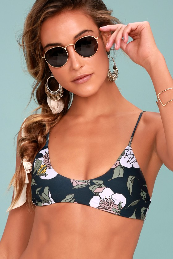 Tavik Nahla Navy Blue Floral Print Bikini Top 2