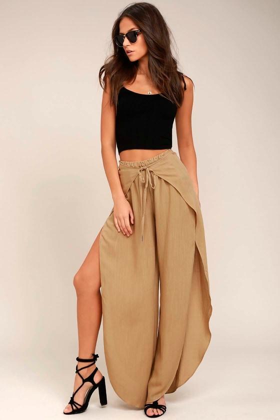 f4e57e84a417 Cute Beige Pants - Wide-Leg Pants - Palazzo Pants - Tulip Pants