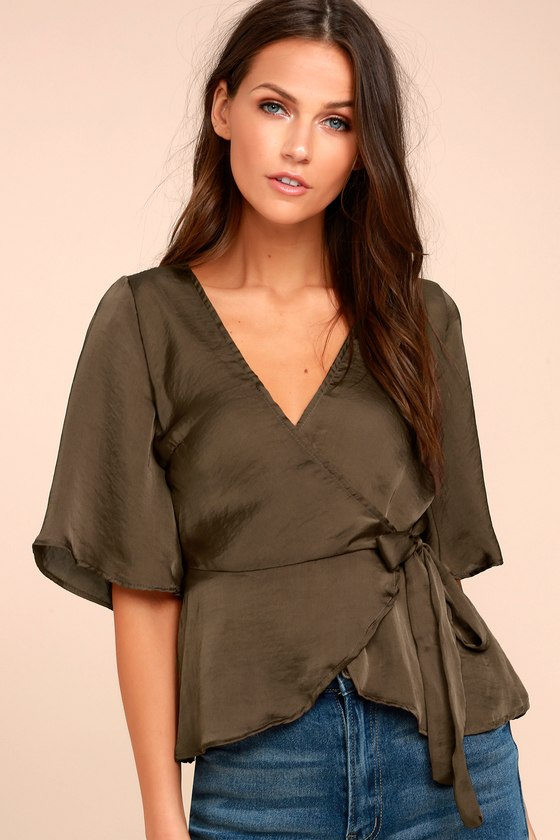 e3d23397389db Lovely Olive Green Top - Wrap Top - Short Sleeve Top -  45.00